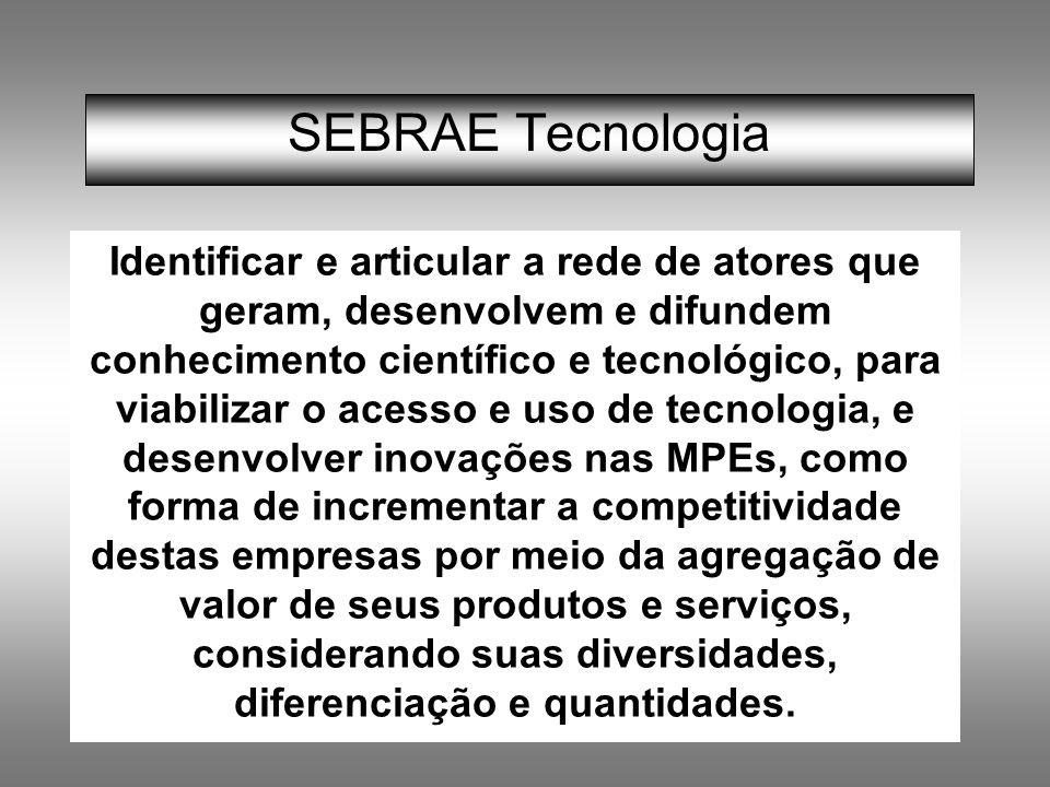SEBRAE Tecnologia Identificar e articular a rede de atores que geram, desenvolvem e difundem conhecimento científico e tecnológico, para viabilizar o