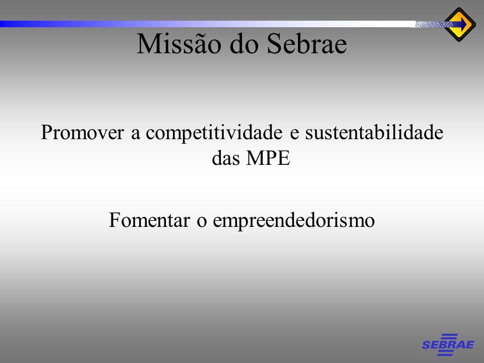 Missão do Sebrae Promover a competitividade e sustentabilidade das MPE Fomentar o empreendedorismo