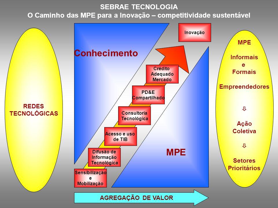 SEBRAE TECNOLOGIA O Caminho das MPE para a Inovação – competitividade sustentável MPE Informais e Formais Empreendedores  Ação Coletiva  Setores Pri