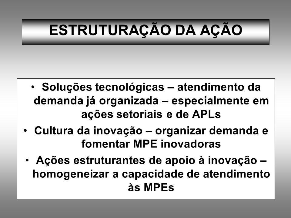 ESTRUTURAÇÃO DA AÇÃO Soluções tecnológicas – atendimento da demanda já organizada – especialmente em ações setoriais e de APLs Cultura da inovação – o