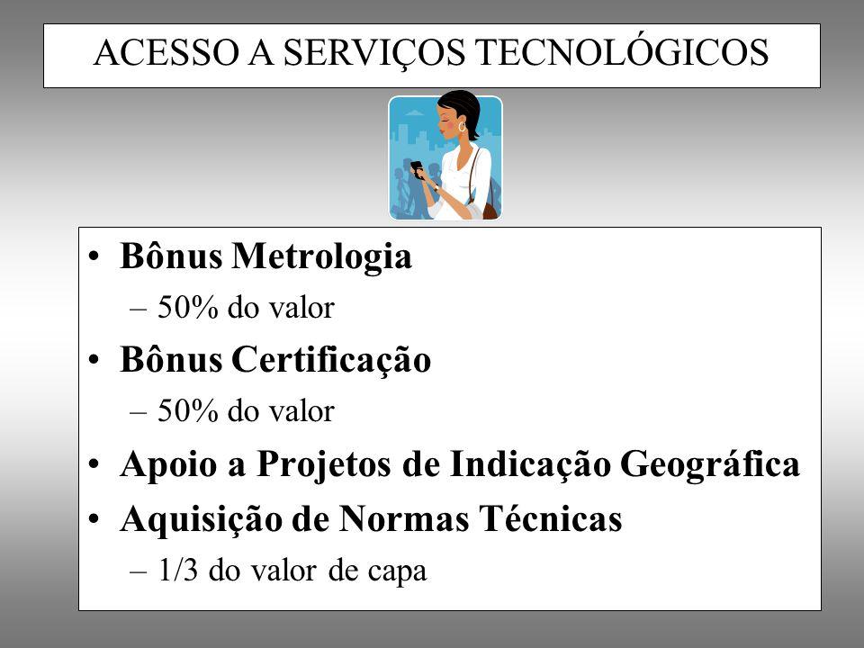 Bônus Metrologia –50% do valor Bônus Certificação –50% do valor Apoio a Projetos de Indicação Geográfica Aquisição de Normas Técnicas –1/3 do valor de