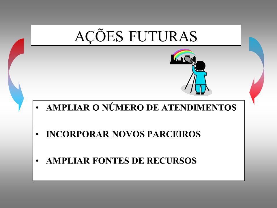 AMPLIAR O NÚMERO DE ATENDIMENTOS INCORPORAR NOVOS PARCEIROS AMPLIAR FONTES DE RECURSOS AÇÕES FUTURAS