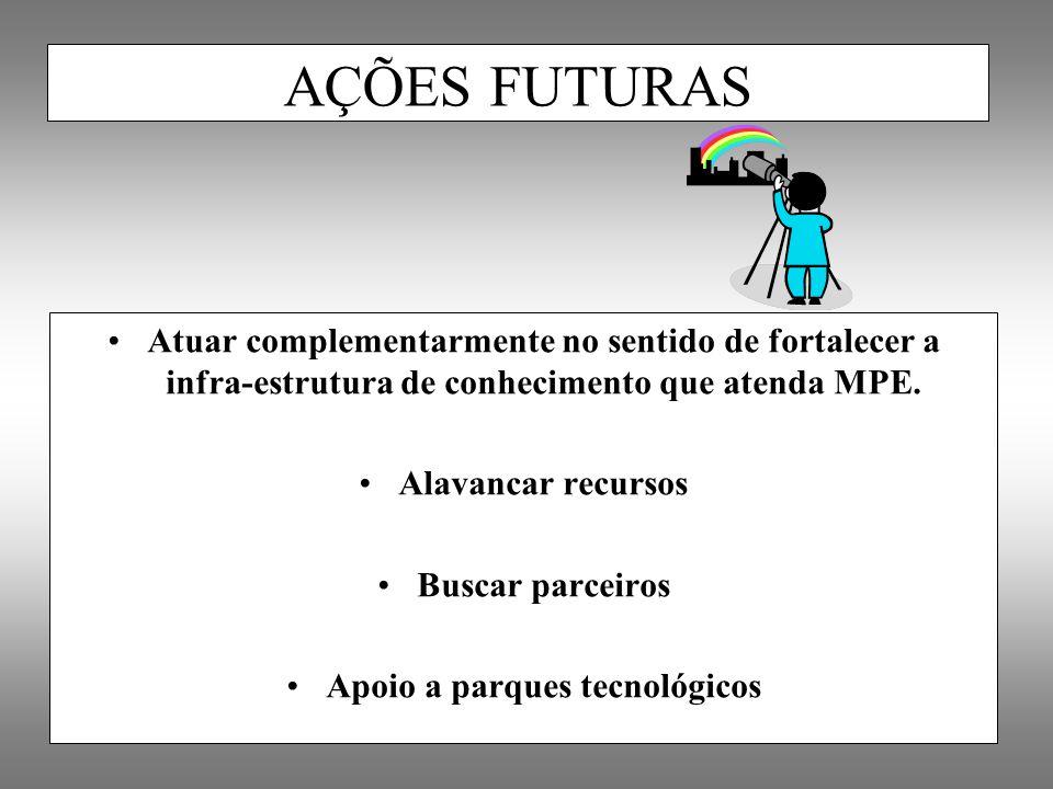 Atuar complementarmente no sentido de fortalecer a infra-estrutura de conhecimento que atenda MPE. Alavancar recursos Buscar parceiros Apoio a parques