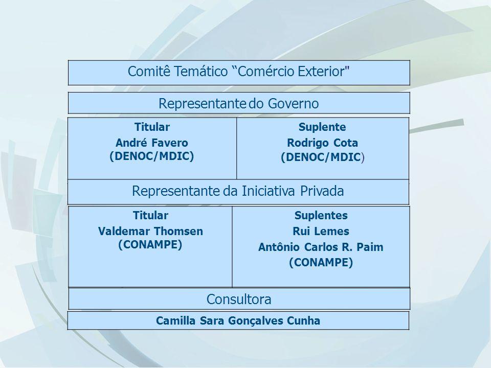 Comitê Temático Comércio Exterior Representante do Governo Titular André Favero (DENOC/MDIC) Suplente Rodrigo Cota (DENOC/MDIC ) Representante da Iniciativa Privada Titular Valdemar Thomsen (CONAMPE) Suplentes Rui Lemes Antônio Carlos R.
