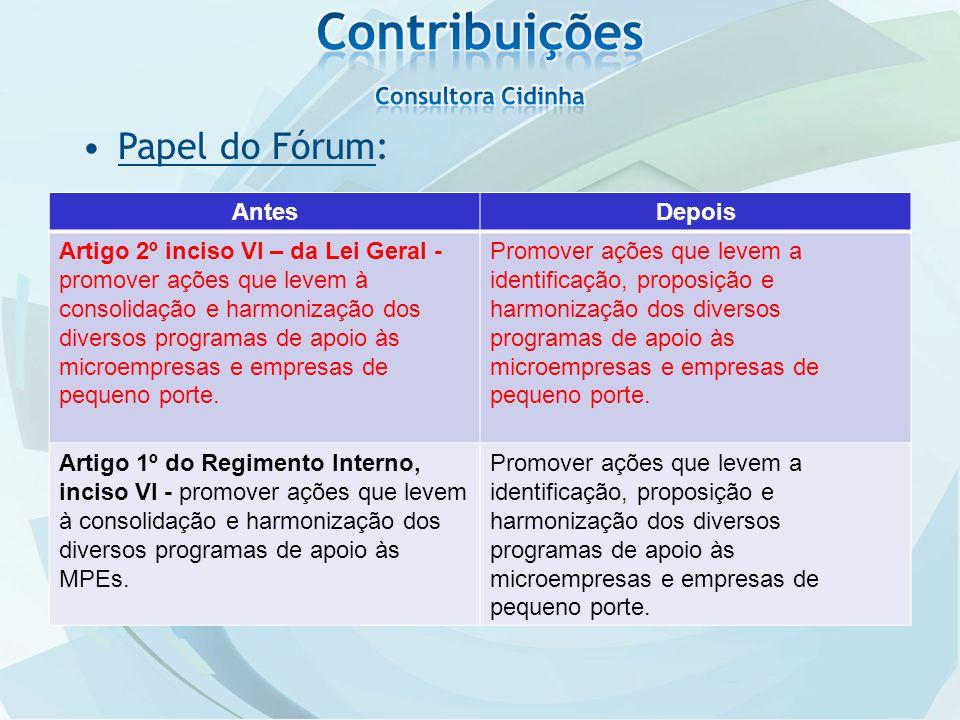 Papel do Fórum: AntesDepois Artigo 2º inciso VI – da Lei Geral - promover ações que levem à consolidação e harmonização dos diversos programas de apoio às microempresas e empresas de pequeno porte.