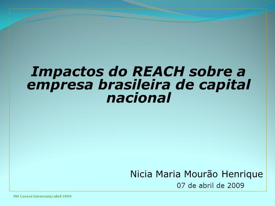 Nicia Maria Mourão Henrique 07 de abril de 2009 MH Cursos Gerenciais/abril 2009 Impactos do REACH sobre a empresa brasileira de capital nacional