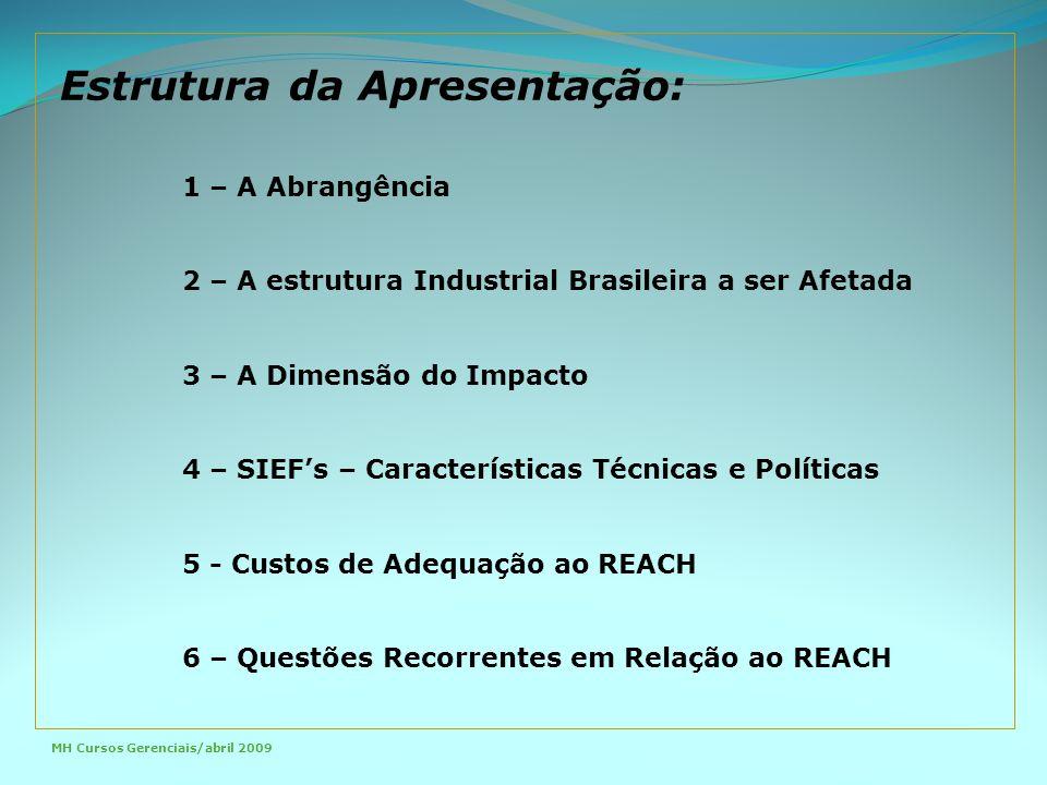 1 – A Abrangência 2 – A estrutura Industrial Brasileira a ser Afetada 3 – A Dimensão do Impacto 4 – SIEF's – Características Técnicas e Políticas 5 - Custos de Adequação ao REACH 6 – Questões Recorrentes em Relação ao REACH Estrutura da Apresentação: MH Cursos Gerenciais/abril 2009
