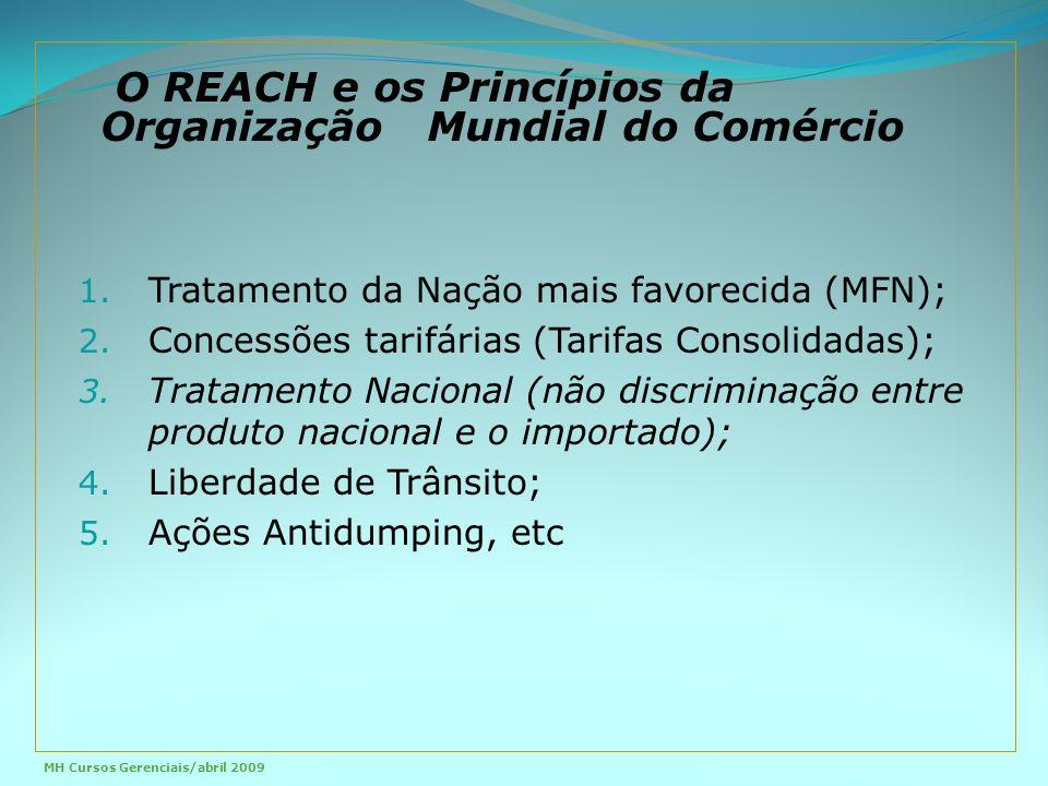 1. Tratamento da Nação mais favorecida (MFN); 2. Concessões tarifárias (Tarifas Consolidadas); 3.