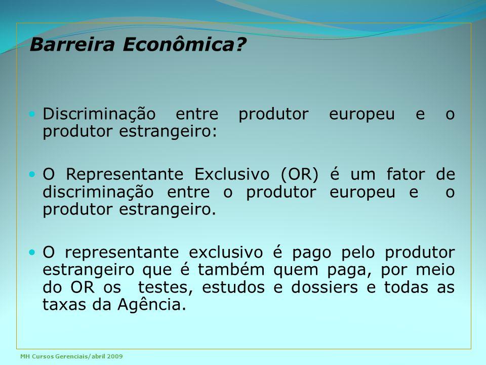 Discriminação entre produtor europeu e o produtor estrangeiro: O Representante Exclusivo (OR) é um fator de discriminação entre o produtor europeu e o produtor estrangeiro.