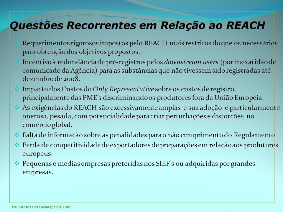  Requerimentos rigorosos impostos pelo REACH mais restritos do que os necessários para obtenção dos objetivos propostos.