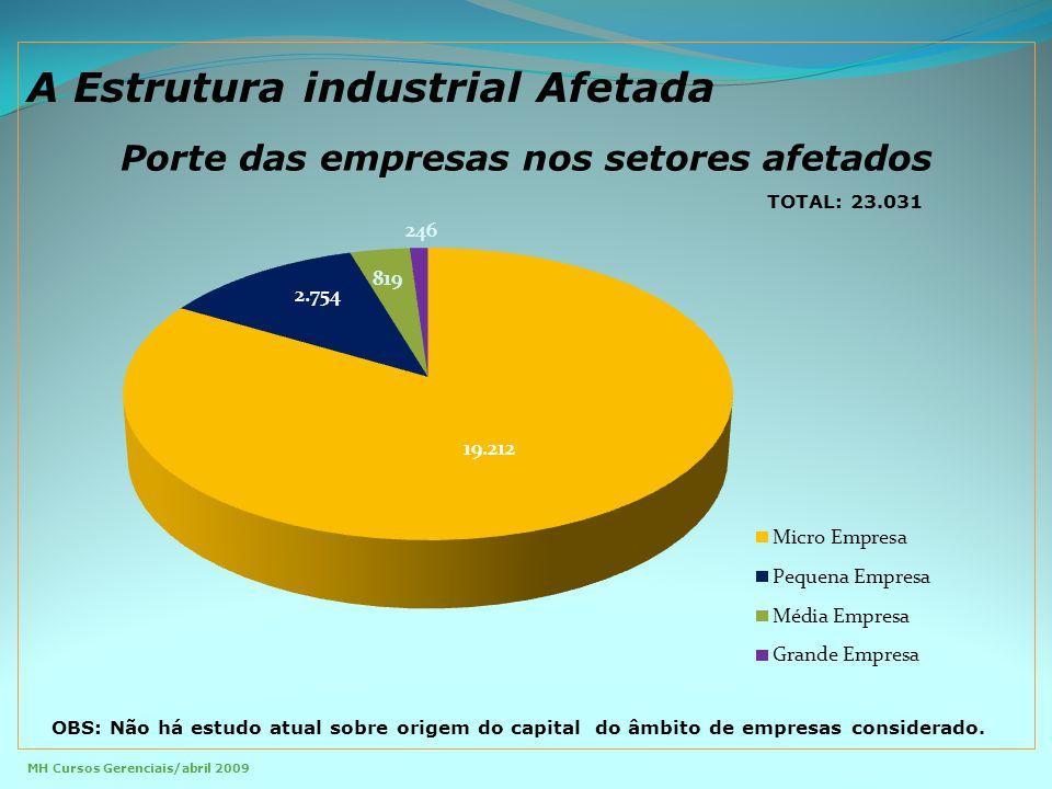 Porte das empresas nos setores afetados TOTAL: 23.031 MH Cursos Gerenciais/abril 2009 OBS: Não há estudo atual sobre origem do capital do âmbito de empresas considerado.