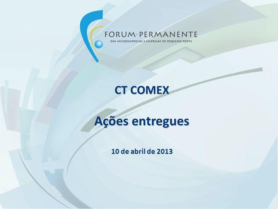CT COMEX Ações entregues 10 de abril de 2013