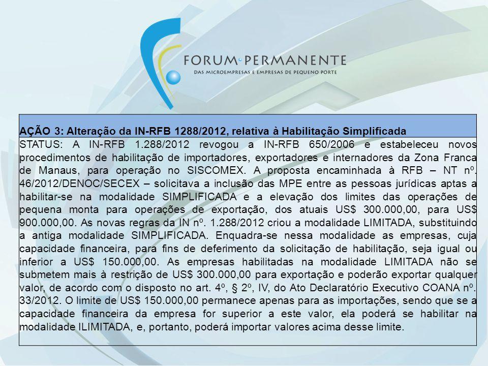 AÇÃO 3: Alteração da IN-RFB 1288/2012, relativa à Habilitação Simplificada STATUS: A IN-RFB 1.288/2012 revogou a IN-RFB 650/2006 e estabeleceu novos p