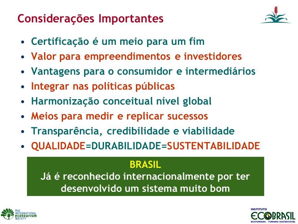 Considerações Importantes Certificação é um meio para um fim Valor para empreendimentos e investidores Vantagens para o consumidor e intermediários In