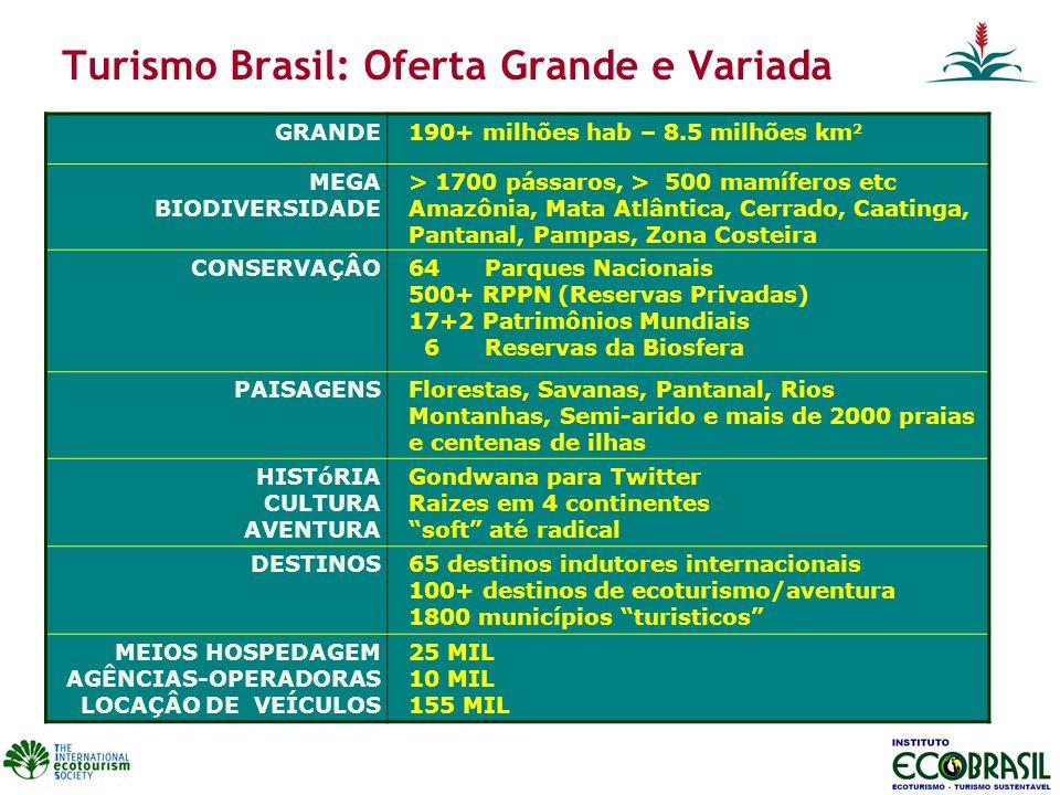 Turismo Brasil: Oferta Grande e Variada GRANDE190+ milhões hab – 8.5 milhões km 2 MEGA BIODIVERSIDADE > 1700 pássaros, > 500 mamíferos etc Amazônia, Mata Atlântica, Cerrado, Caatinga, Pantanal, Pampas, Zona Costeira CONSERVAÇÂO64 Parques Nacionais 500+ RPPN (Reservas Privadas) 17+2 Patrimônios Mundiais 6 Reservas da Biosfera PAISAGENSFlorestas, Savanas, Pantanal, Rios Montanhas, Semi-arido e mais de 2000 praias e centenas de ilhas HISTóRIA CULTURA AVENTURA Gondwana para Twitter Raizes em 4 continentes soft até radical DESTINOS65 destinos indutores internacionais 100+ destinos de ecoturismo/aventura 1800 municípios turisticos MEIOS HOSPEDAGEM AGÊNCIAS-OPERADORAS LOCAÇÂO DE VEÍCULOS 25 MIL 10 MIL 155 MIL