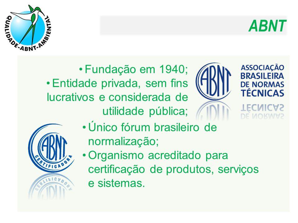 ABNT Fundação em 1940; Entidade privada, sem fins lucrativos e considerada de utilidade pública; Único fórum brasileiro de normalização; Organismo acr