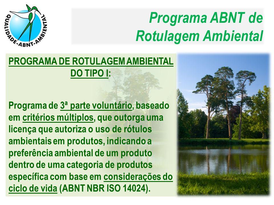 ABNT NBR ISO 14020: Rótulos e declarações ambientais – Princípios gerais:  Objetivo dos rótulos e declarações ambientais  Princípios gerais dos rótulos ambientais ABNT NBR ISO 14024: Rótulos e declarações ambientais – Rotulagem ambiental do tipo I – Princípios e procedimentos:  Princípios e procedimentos da rotulagem ambiental do tipo I  Certificação e conformidade Estimular a demanda e o suprimento de produtos e serviços que causem menor impacto ao meio ambiente.