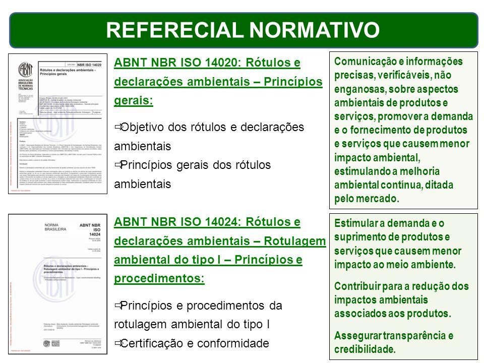 ABNT NBR ISO 14020: Rótulos e declarações ambientais – Princípios gerais:  Objetivo dos rótulos e declarações ambientais  Princípios gerais dos rótu