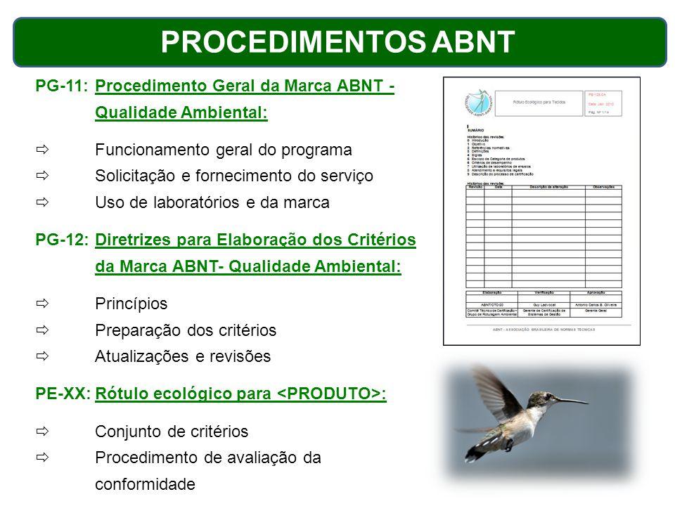 PROCEDIMENTOS ABNT PG-11:Procedimento Geral da Marca ABNT - Qualidade Ambiental:  Funcionamento geral do programa  Solicitação e fornecimento do ser