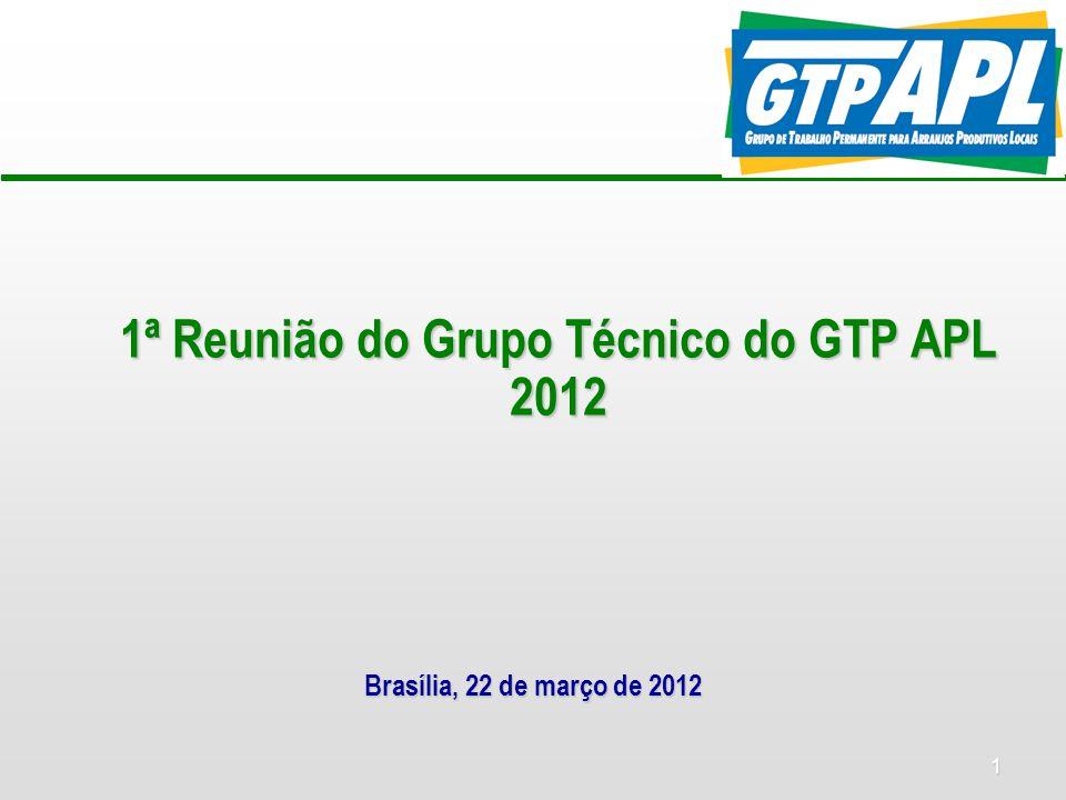 1 1ª Reunião do Grupo Técnico do GTP APL 2012 Brasília, 22 de março de 2012