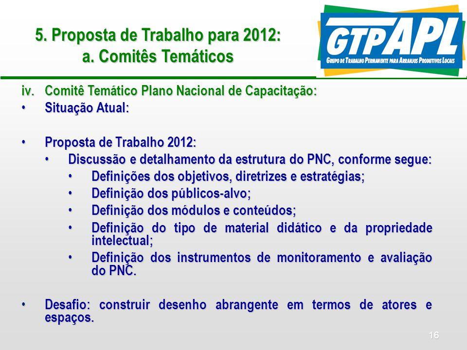 16 5. Proposta de Trabalho para 2012: a.