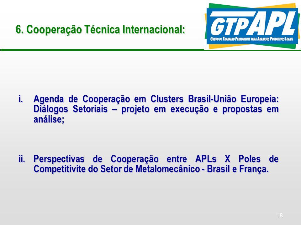 18 6. Cooperação Técnica Internacional: i.Agenda de Cooperação em Clusters Brasil-União Europeia: Diálogos Setoriais – projeto em execução e propostas
