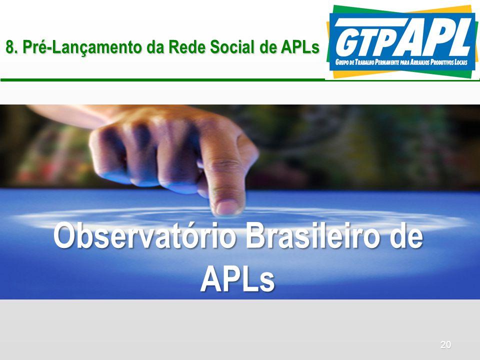 20 8. Pré-Lançamento da Rede Social de APLs Observatório Brasileiro de APLs