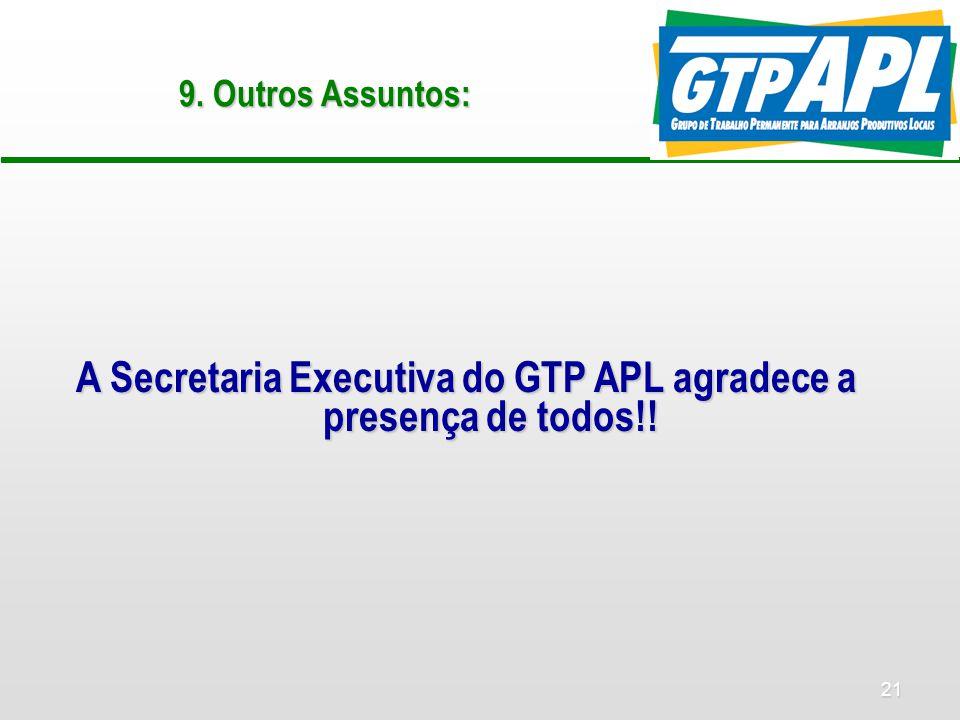 21 9. Outros Assuntos: A Secretaria Executiva do GTP APL agradece a presença de todos!!