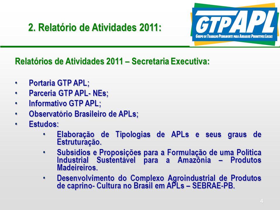 4 2. Relatório de Atividades 2011: Relatórios de Atividades 2011 – Secretaria Executiva: Portaria GTP APL; Portaria GTP APL; Parceria GTP APL- NEs; Pa