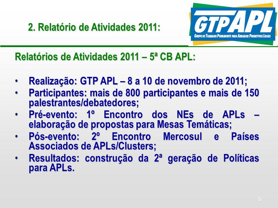 5 2. Relatório de Atividades 2011: Relatórios de Atividades 2011 – 5ª CB APL: Realização: GTP APL – 8 a 10 de novembro de 2011; Realização: GTP APL –
