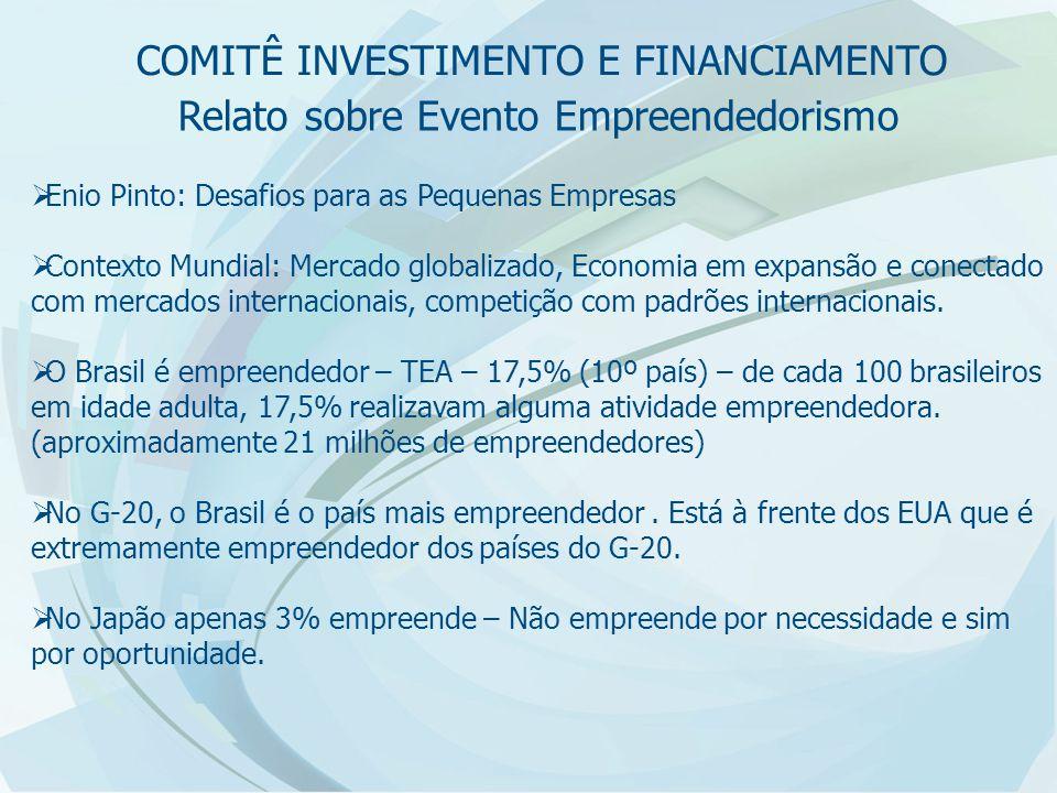 Relato sobre Evento Empreendedorismo  Enio Pinto: Desafios para as Pequenas Empresas  Contexto Mundial: Mercado globalizado, Economia em expansão e