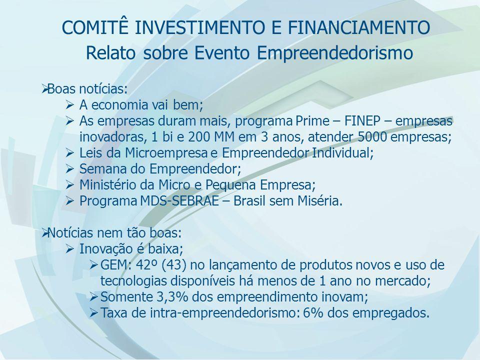 Relato sobre Evento Empreendedorismo  Boas notícias:  A economia vai bem;  As empresas duram mais, programa Prime – FINEP – empresas inovadoras, 1