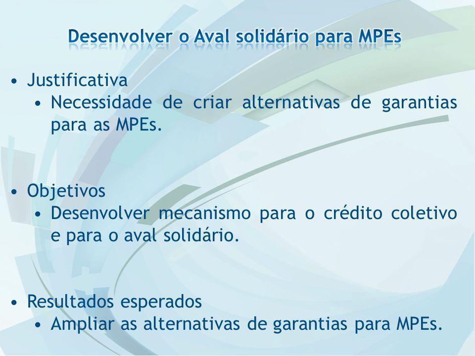Justificativa Necessidade de criar alternativas de garantias para as MPEs.