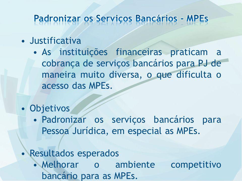 Justificativa As instituições financeiras praticam a cobrança de serviços bancários para PJ de maneira muito diversa, o que dificulta o acesso das MPEs.