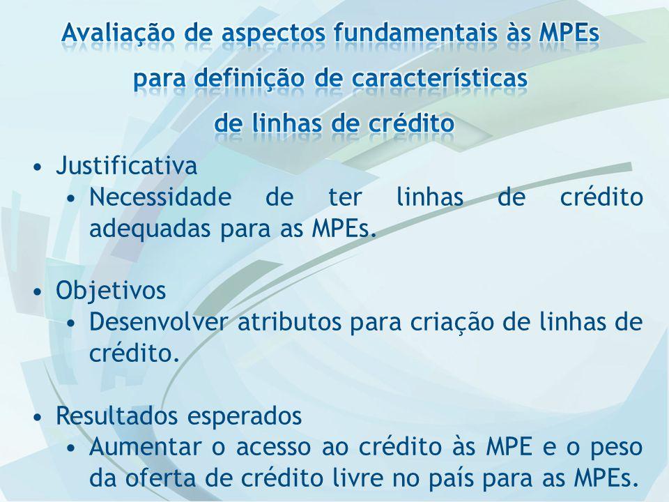 Justificativa Necessidade de ter linhas de crédito adequadas para as MPEs.