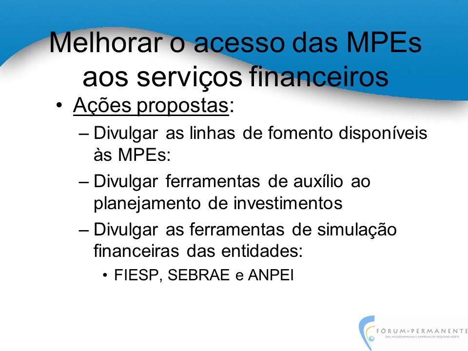 Melhorar o acesso das MPEs aos serviços financeiros Ações propostas: –Divulgar as linhas de fomento disponíveis às MPEs: –Divulgar ferramentas de auxílio ao planejamento de investimentos –Divulgar as ferramentas de simulação financeiras das entidades: FIESP, SEBRAE e ANPEI