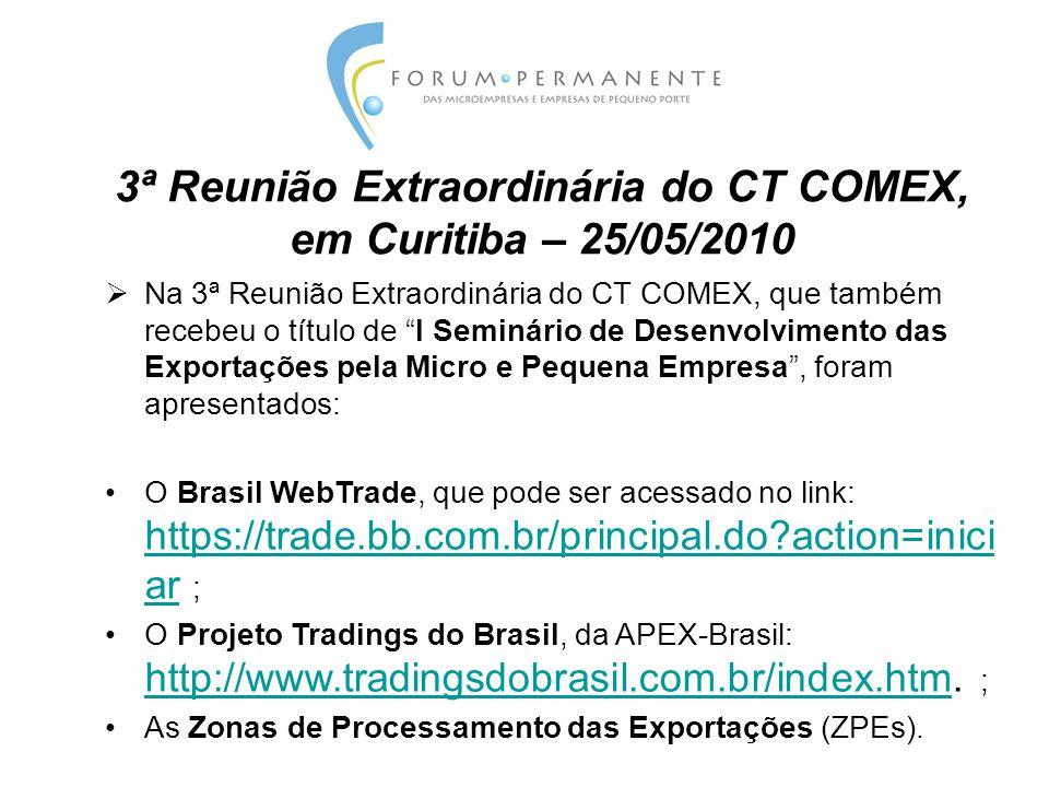 3ª Reunião Extraordinária do CT COMEX, em Curitiba – 25/05/2010  Na 3ª Reunião Extraordinária do CT COMEX, que também recebeu o título de I Seminário de Desenvolvimento das Exportações pela Micro e Pequena Empresa , foram apresentados: O Brasil WebTrade, que pode ser acessado no link: https://trade.bb.com.br/principal.do?action=inici ar ; https://trade.bb.com.br/principal.do?action=inici ar O Projeto Tradings do Brasil, da APEX-Brasil: http://www.tradingsdobrasil.com.br/index.htm.