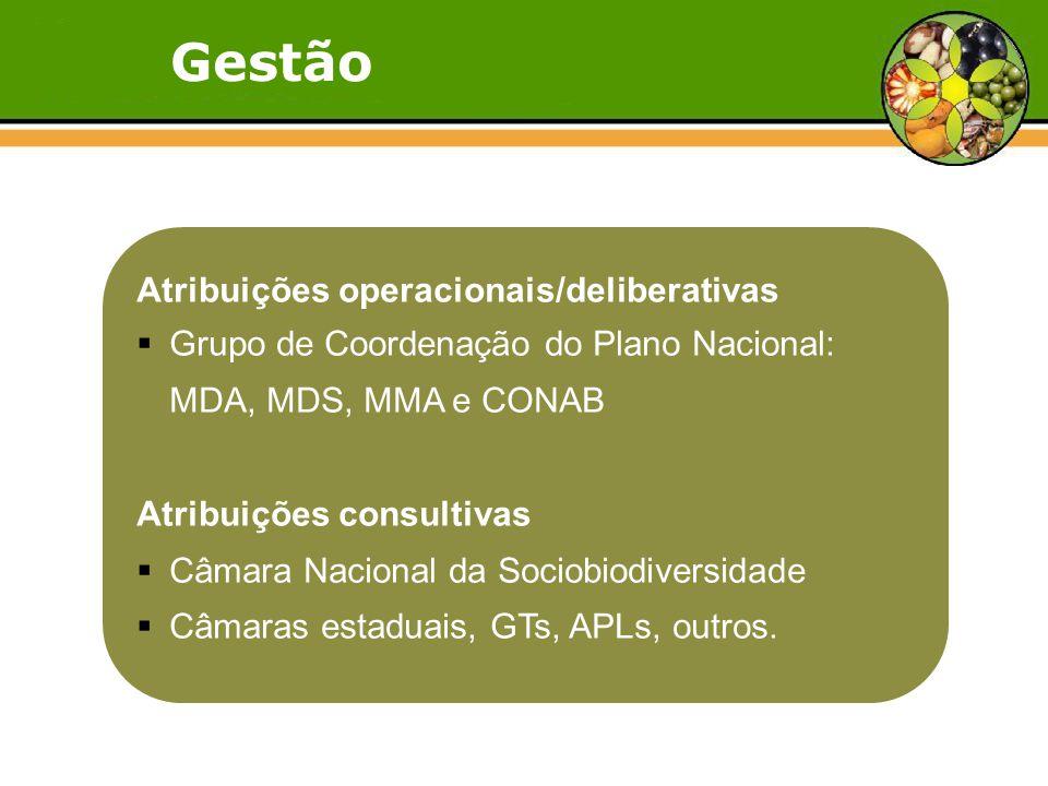 Gestão Atribuições operacionais/deliberativas  Grupo de Coordenação do Plano Nacional: MDA, MDS, MMA e CONAB Atribuições consultivas  Câmara Nacional da Sociobiodiversidade  Câmaras estaduais, GTs, APLs, outros.