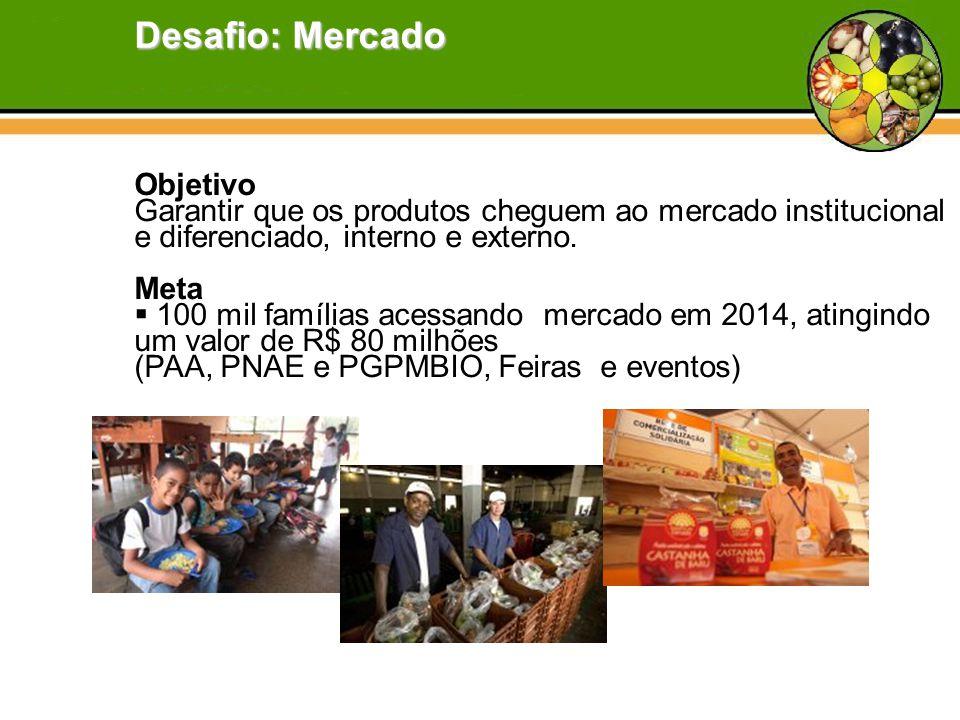 Objetivo Garantir que os produtos cheguem ao mercado institucional e diferenciado, interno e externo. Meta  100 mil famílias acessando mercado em 201