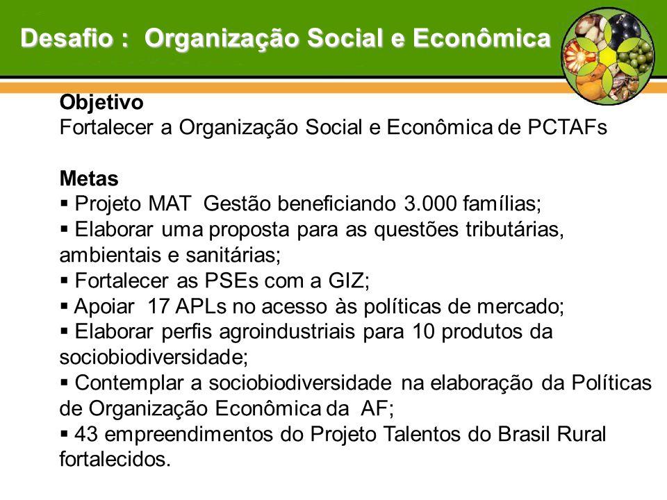Objetivo Fortalecer a Organização Social e Econômica de PCTAFs Metas  Projeto MAT Gestão beneficiando 3.000 famílias;  Elaborar uma proposta para as