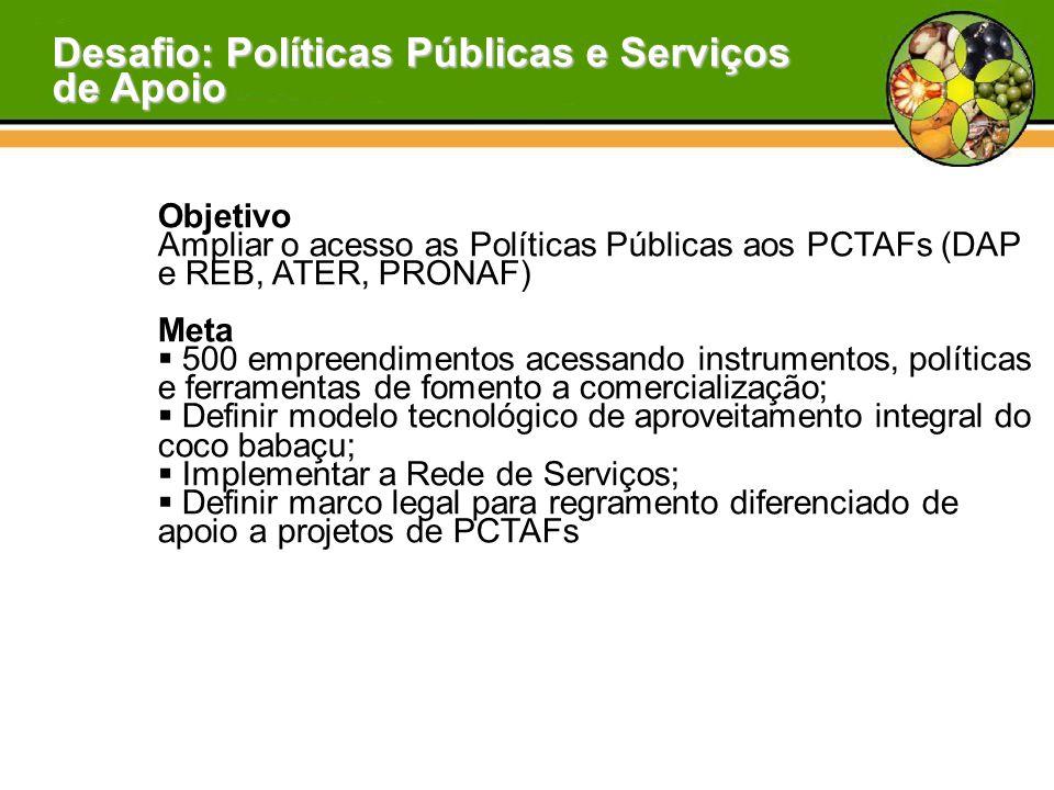 Desafio: Políticas Públicas e Serviços de Apoio Objetivo Ampliar o acesso as Políticas Públicas aos PCTAFs (DAP e REB, ATER, PRONAF) Meta  500 empree