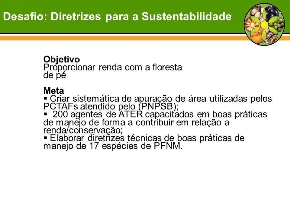 Objetivo Proporcionar renda com a floresta de pé Meta  Criar sistemática de apuração de área utilizadas pelos PCTAFs atendido pelo (PNPSB);  200 age