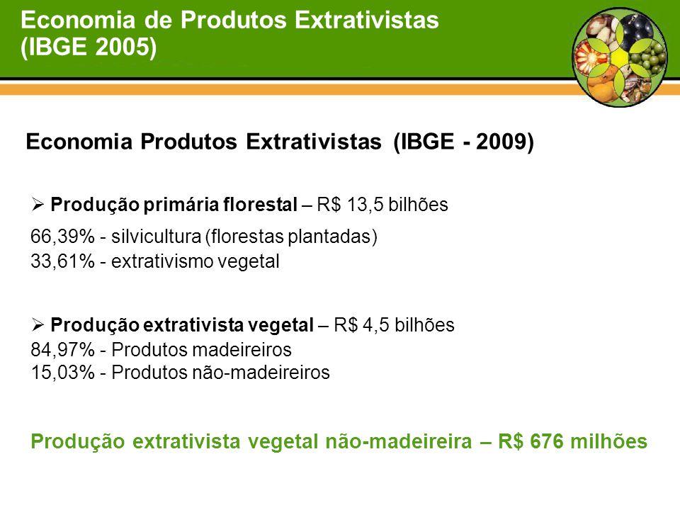 Economia Produtos Extrativistas (IBGE - 2009)  Produção primária florestal – R$ 13,5 bilhões 66,39% - silvicultura (florestas plantadas) 33,61% - extrativismo vegetal  Produção extrativista vegetal – R$ 4,5 bilhões 84,97% - Produtos madeireiros 15,03% - Produtos não-madeireiros Produção extrativista vegetal não-madeireira – R$ 676 milhões Economia de Produtos Extrativistas (IBGE 2005)
