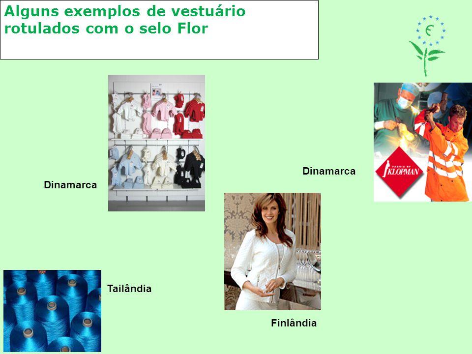 Alguns exemplos de vestuário rotulados com o selo Flor Dinamarca Finlândia Dinamarca Tailândia