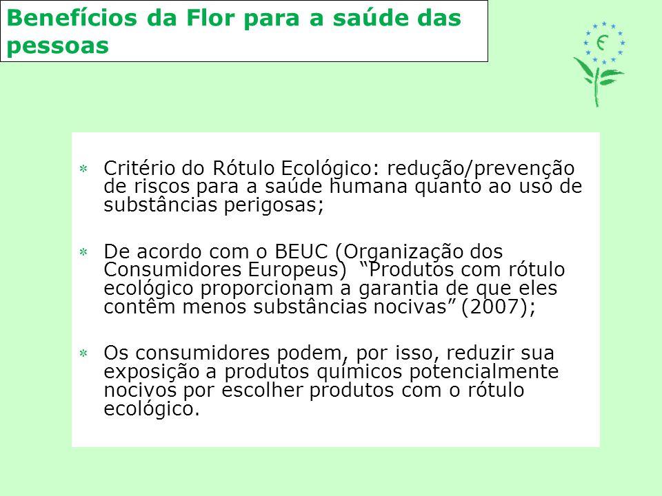 Benefícios da Flor para a saúde das pessoas Critério do Rótulo Ecológico: redução/prevenção de riscos para a saúde humana quanto ao uso de substância