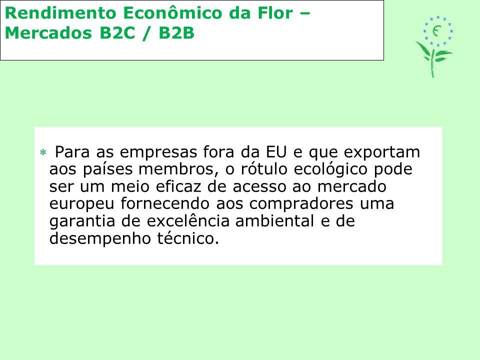 Rendimento Econômico da Flor – Mercados B2C / B2B  Para as empresas fora da EU e que exportam aos países membros, o rótulo ecológico pode ser um meio