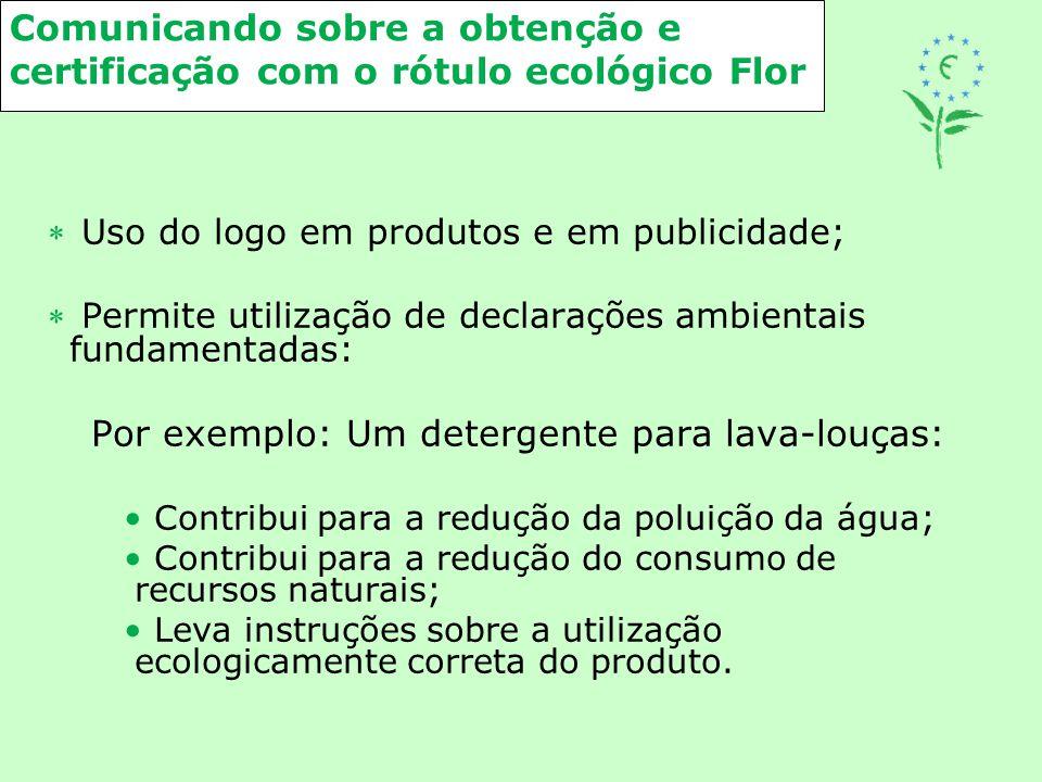 Comunicando sobre a obtenção e certificação com o rótulo ecológico Flor  Uso do logo em produtos e em publicidade;  Permite utilização de declaraçõe