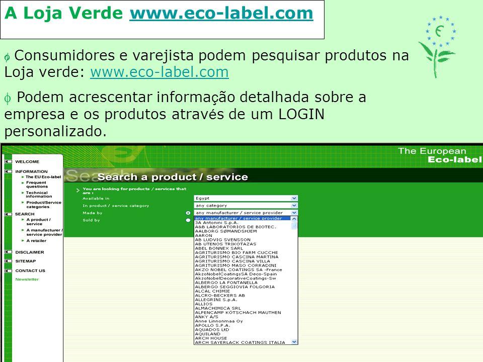 A Loja Verde www.eco-label.comwww.eco-label.com  Consumidores e varejista podem pesquisar produtos na Loja verde: www.eco-label.comwww.eco-label.com