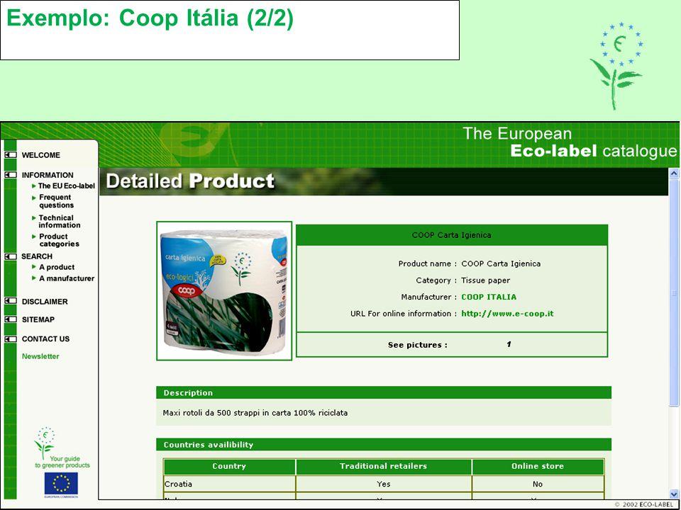 Exemplo: Coop Itália (2/2)