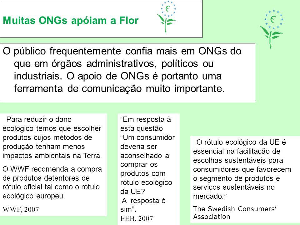 Muitas ONGs apóiam a Flor O público frequentemente confia mais em ONGs do que em órgãos administrativos, políticos ou industriais. O apoio de ONGs é p
